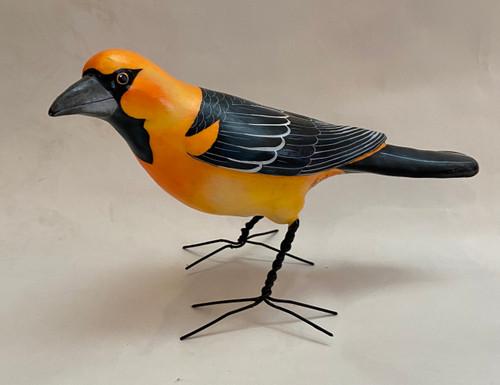 """Altamira Oriole Painted Ceramic Bird Guatemala (10"""" x 5"""")"""