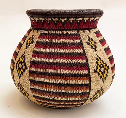 "Handmade Natural Fiber Wounaan Basket 2 Panama  (4.75"" wide x  4""tall)"