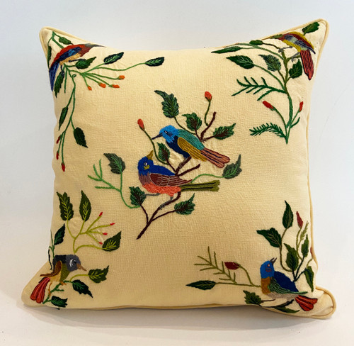 """Handwoven and Hand Embroidered Bird Pillow Yellow B Guatemala (18"""" x 18"""")"""