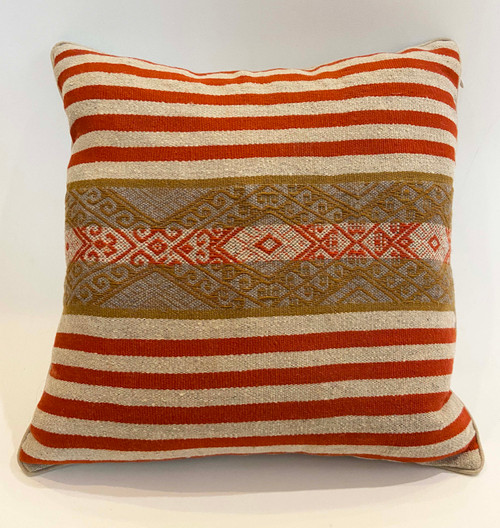 "Handwoven Traditional Woolen Natural  Dyed Pillow C Peru (18"" x 18"")"
