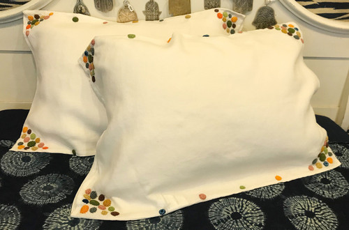 "Embroidered Linen Pillow Cases Standard Size( 19"" x 30"")"