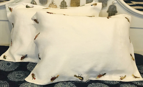 """Embroidered Birds Linen Pillow Cases (19"""" x 30"""")"""