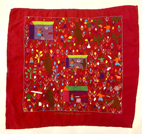 "Hand Embroidered Folk Tale Story Cloth 1 Madagascar (17"" x 17"")"