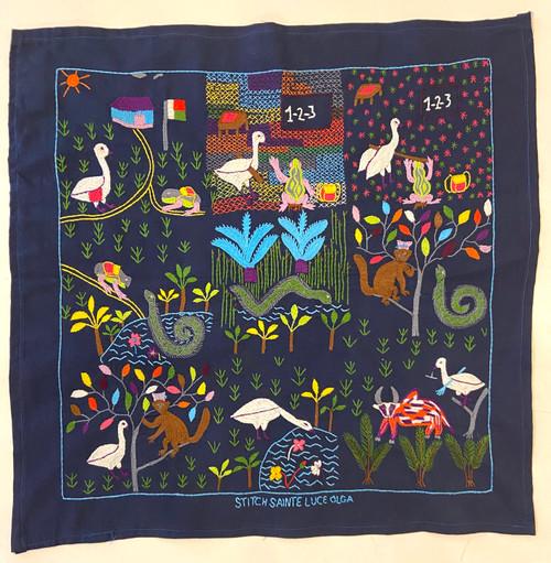 "Hand Embroidered Folk Tale Story Cloth 2 Madagascar (17"" x 17"")"