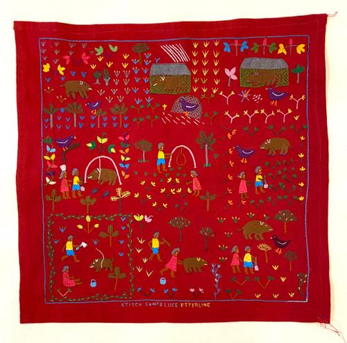"Hand Embroidered Folk Tale Story Cloth 7 Madagascar (17"" x 17"")"