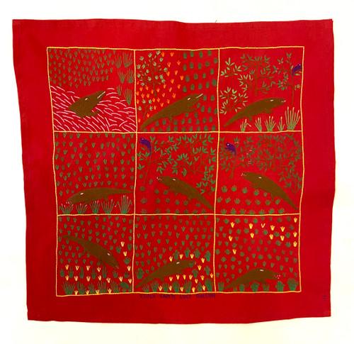 "Hand Embroidered Folk Tale Story Cloth 9 Madagascar (17"" x 17"")"