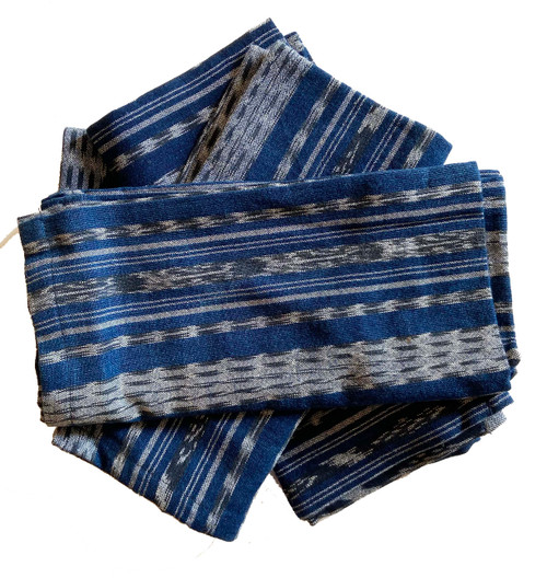 Handwoven Traditional Repurposed Cloth Napkins Indigo Cotton