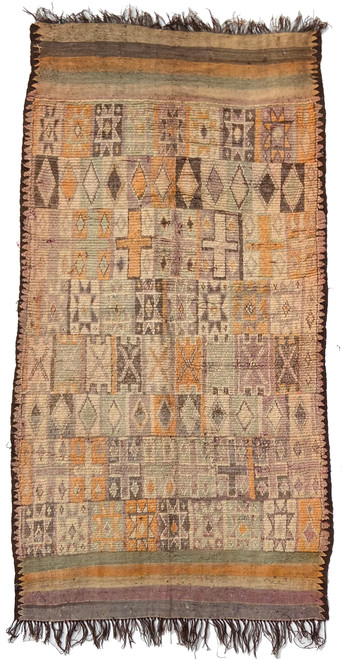"Handwoven And Hand Knotted Vintage Pile Tribal Wool Rug Morocco (59""x 112"")"
