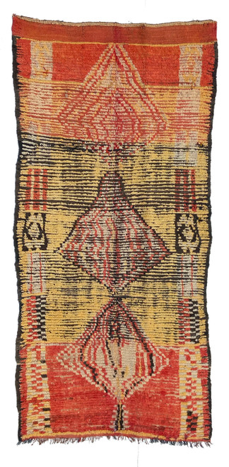 """Handwoven And Hand Knotted Vintage Pile Tribal Wool Rug Morocco (56""""x 112"""")"""