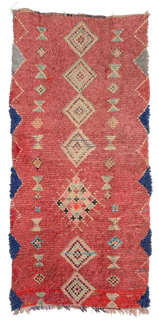 """Handwoven And Hand Knotted Vintage Pile Tribal Boucherouite Rug 7 Morocco (49""""x 100"""")"""