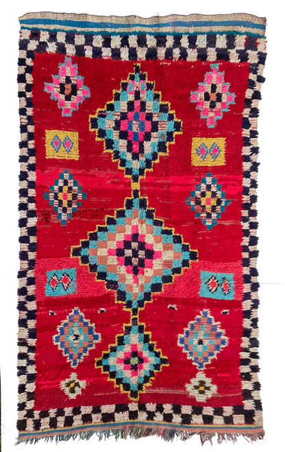 "Handwoven And Hand Knotted Vintage Pile Tribal Rug 8 Morocco (57""x 94"")"