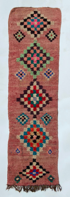 """Handwoven And Hand Knotted Vintage Wool Pile Tribal Runner Rug  Morocco (33""""x 119"""")"""