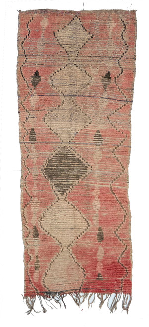 """Handwoven And Hand Knotted Vintage Boujad Pile Tribal Rug  Morocco (48""""x 117"""")"""