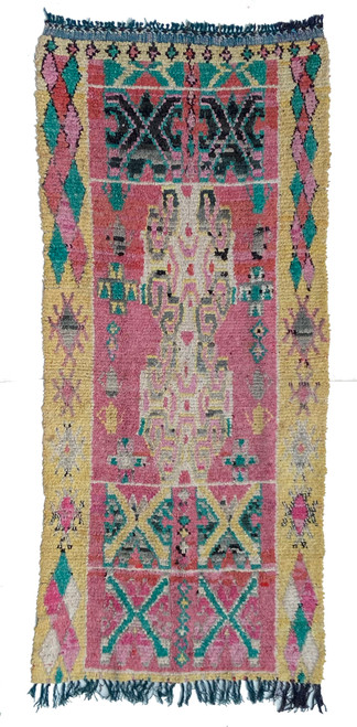 "Handwoven And Hand Knotted Vintage Boucherite Pile Tribal Rug  Morocco (42""x 96"")"