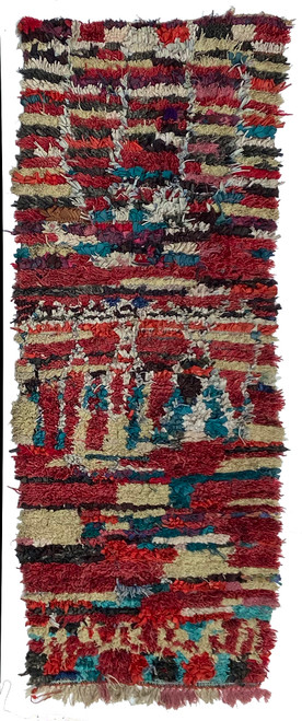 "Handwoven And Hand Knotted Mixed Fiber Vintage Rug  Morocco (34""x 86"")"