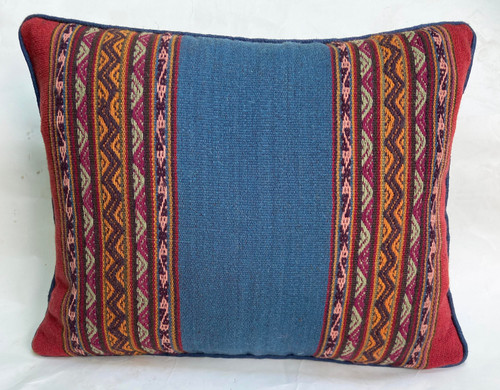 "Handwoven Traditional Woolen Natural  Dyed Pillow 3  Peru (12"" x 16"")"