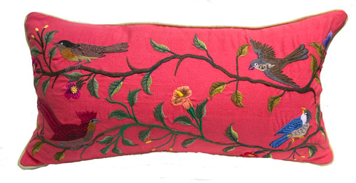 "Handwoven Embroidered Bird Pillow Rose Guatemala (12"" x  23"")"