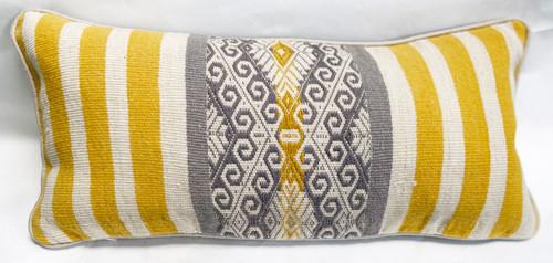 """Handwoven Traditional Woolen Natural  Dyed Lumbar Pillow Peru (8"""" x 18"""")"""