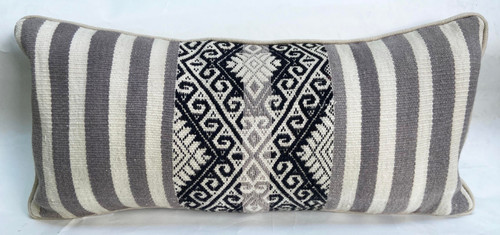 "Handwoven Traditional Woolen Natural  Dyed Lumbar Grey Pillow Peru (8"" x 18"")"