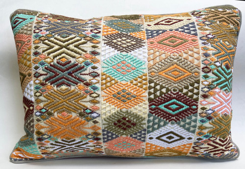 "Handwoven Brocade Pillow Cotton Guatemala (11"" x 16"")"