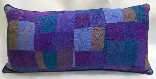 "Hand Quilted Blues Patchwork Silk Pillow India (10"" x 21"")"