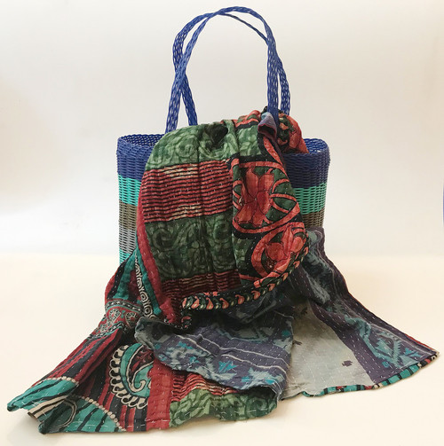 Picnic Basket with  Kantha Quilt 13 India and Guatemala