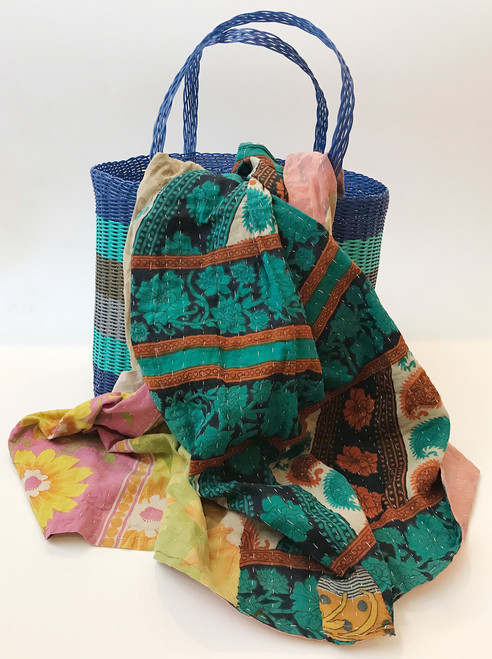 Picnic Basket with  Kantha Quilt 12 India and Guatemala