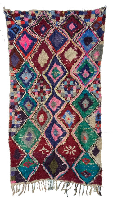 "Handwoven And Hand Knotted Mixed Fiber Vintage Rug 19  Morocco (49""x 90"")"