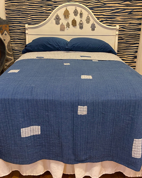Handwoven Natural Dyed Organic Cotton Coverlet indigo white