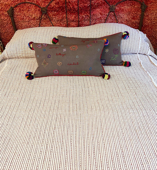 Handwoven Natural Dyed Organic Cotton Queen Red White Coverlet