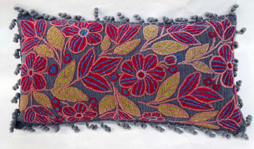 """Peru Woolen Hand Woven and Embroidered B Pillow (12"""" x 23"""")"""