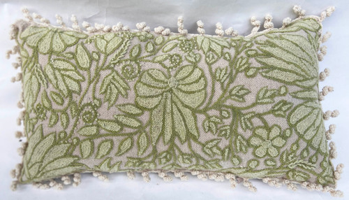 Peru Woolen Hand Woven and Embroidered Pillow White Olive Light Green