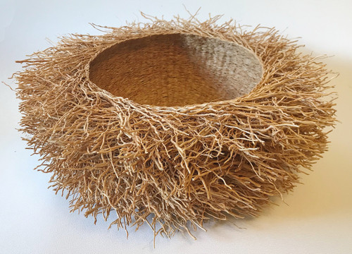 "Handmade Vetiver Basket Large Madagascar (5"" x 15"")"