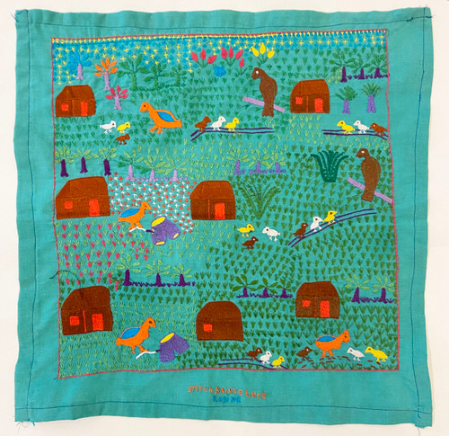 "Hand Embroidered Folk Tale Story Cloth 5 Madagascar (17"" x 17"")"