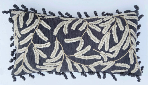 """Peru Woolen Hand Woven and Embroidered E Pillow (12"""" x 22"""")"""