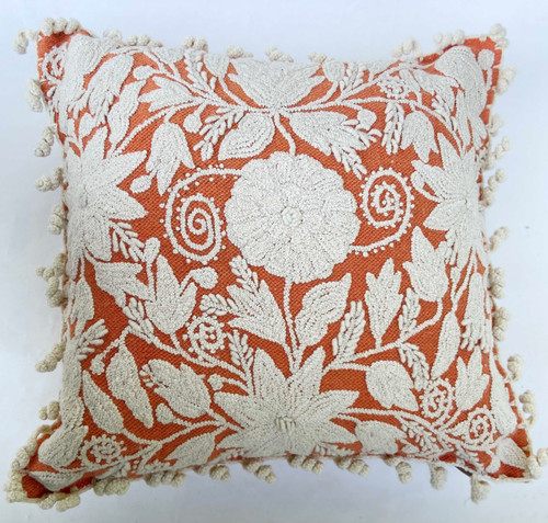 "Peru Woolen Hand Woven and Embroidered Square E Pillow (18"" x 18"")"