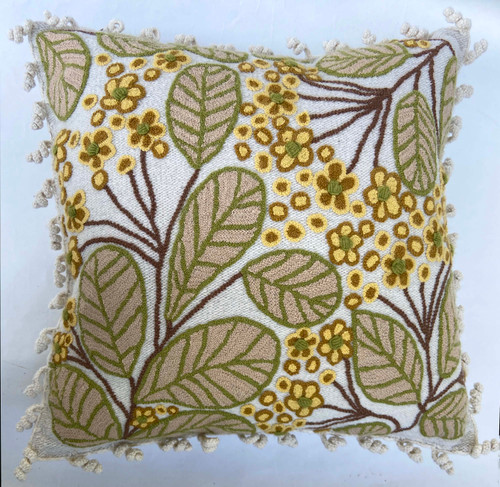 Peru Woolen Hand Woven and Embroidered Square Pillow butter yellow bright olive cocoa brown and muted mustard