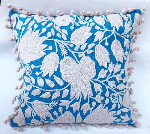 Peru Woolen Hand Woven and Embroidered Square Pillow Robins egg blue and white