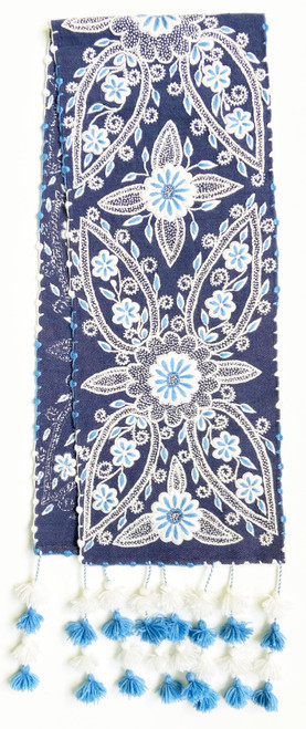 """Handwoven Hand Embroidered Wool Table Runner  C Peru (12"""" x 61"""")"""