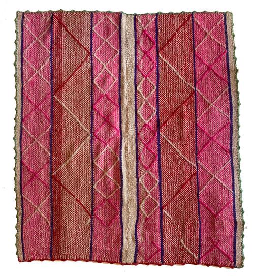 "Handwoven Woolen  Frazada Rug 12 Peru (63"" x 59"")"