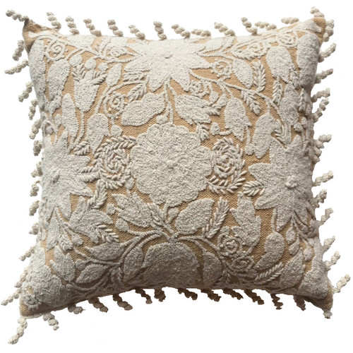 """Peru Woolen Hand Woven and Embroidered Square J Pillow (18"""" x 18"""")"""