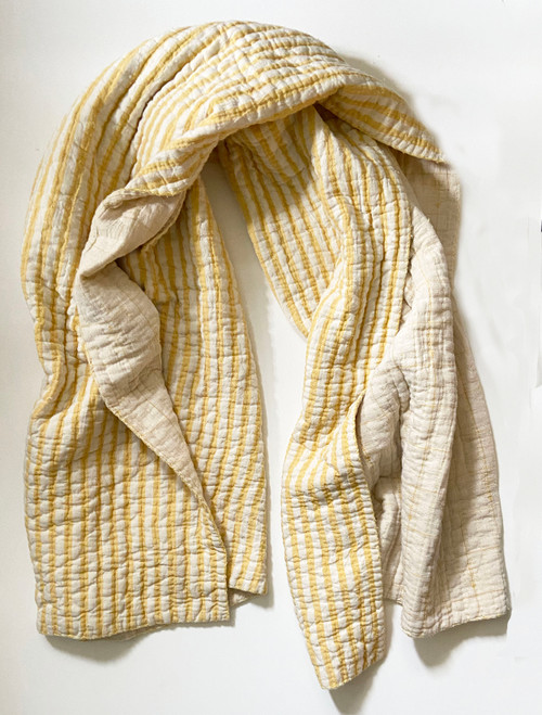 """Handwoven Natural Dyed Yellow Organic Cotton Throw (39"""" x 70"""")"""
