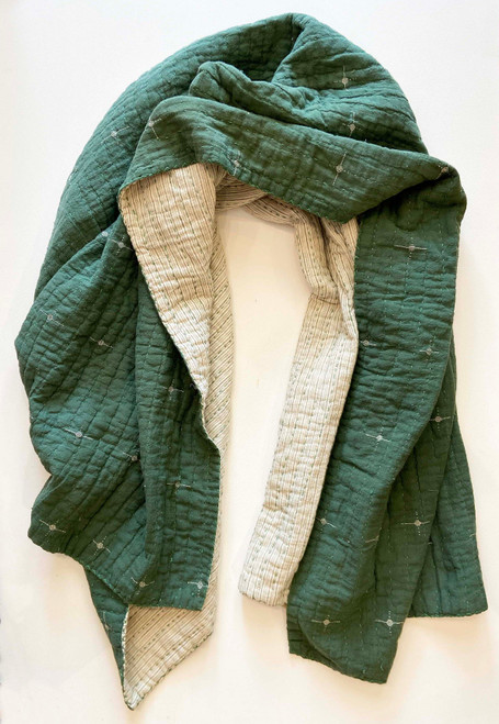 Handwoven Natural Dyed Green White Organic Cotton Throw