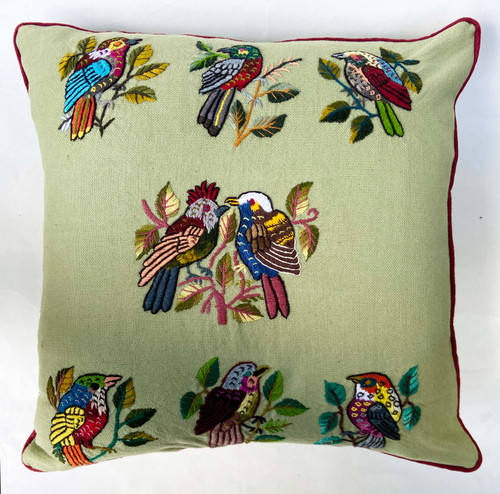 "Handwoven and Hand Embroidered Bird Pillow Sage by Rosa Guatemala (16"" x 16"")"