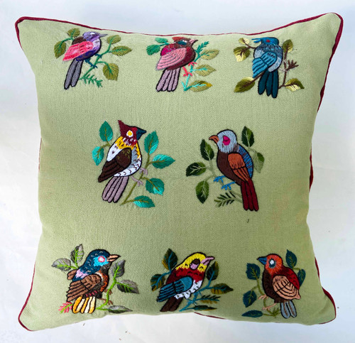 """Handwoven and Hand Embroidered Bird Pillow Sage by Rosa 2 Guatemala (16"""" x 16"""")"""