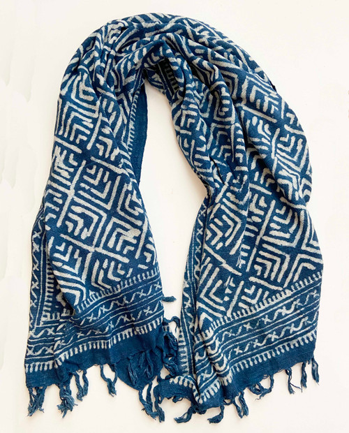 "Handwoven Block Printed Organic Cotton Throw Indigo 2 India (52"" x 70"")"