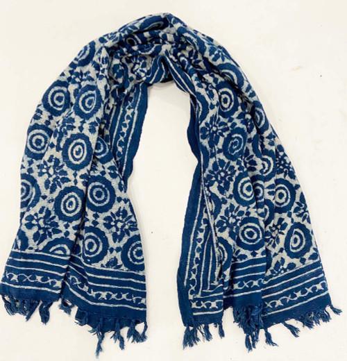 """Handwoven Block Printed Organic Cotton Throw Indigo 3 India (52"""" x 71"""") white indigo"""