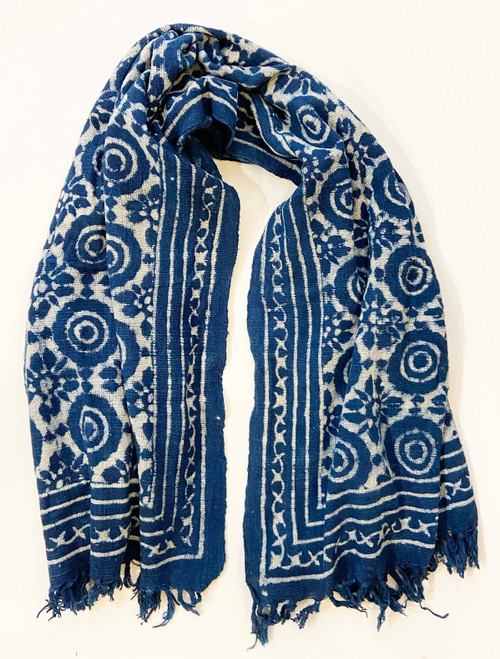 "Handwoven Block Printed Organic Cotton Throw Indigo 4 India (52"" x 72"")"