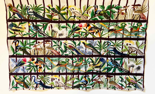 """Traditional Bird Hand Embroidery on Cotton Guatemala (22"""" x 14"""")"""