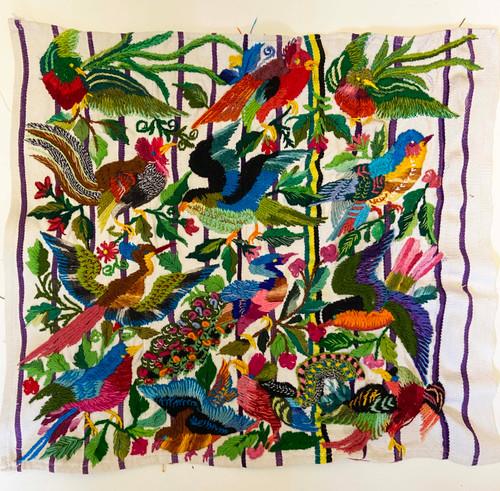 "Bird Hand Embroidery on Cotton  Guatemala (17"" x 15"")"